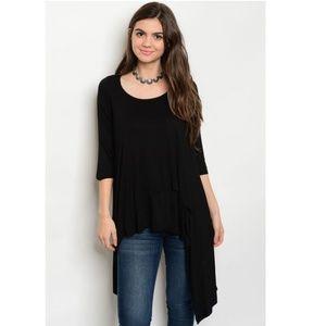 Black Draped Tunics Two Layers Front